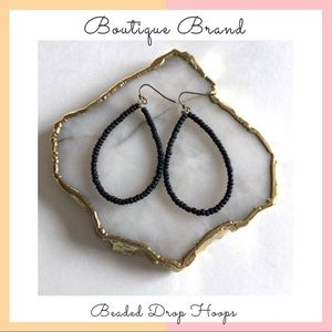 Boutique Brand • Black Beaded Hoops